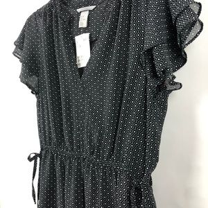 H&M flutter sleeve drawn waist dress NWT